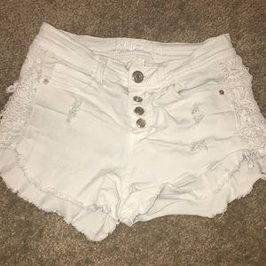 White booty shorts